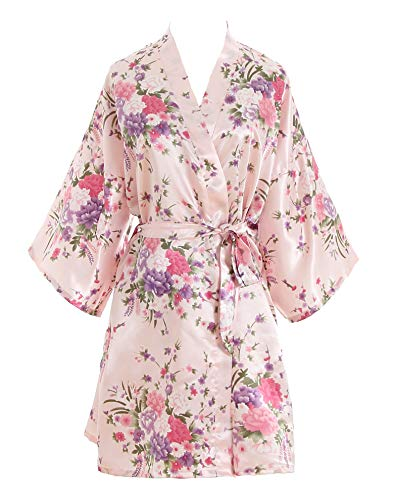 luxurysmart Cherry Blossoms Floral Satin Kimono Robe, Pink, One Size