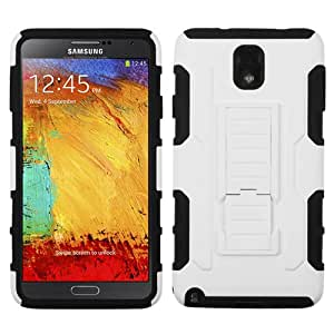 ASMYNA White/Black Car Armor Stand Protector Cover (Rubberized) for SAMSUNG N900A (Galaxy Note 3)