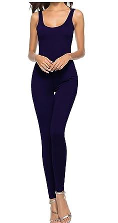 b41c31c4d913 Gocgt Women Spaghetti Strap Bodycon Tank Jumpsuits Long Pants Playsuit 1 XS