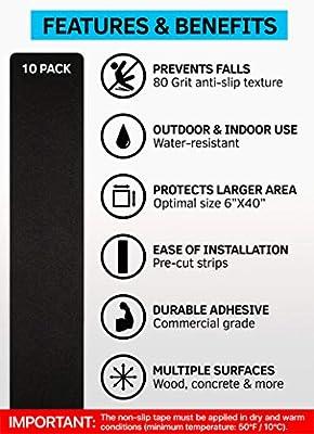 15,2 x 76,2 cm Anti-Rutsch Stufenmatten Outdoor Tape Schwarz Anti-Rutsch Streifen 2x12