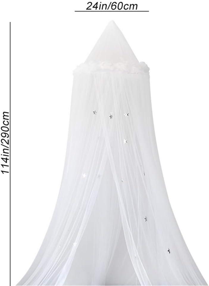 290cm Baldaquin Ciels de Lit D/ôme /Étoile Plume Moustiquaire de B/éb/é et Les Adulte Filles Enfant D/écoration de Chambre Princesse Tente Couronne Cadeau pour Enfants 60