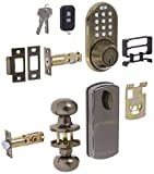 MiLocks XFK-02AQ Digital Deadbolt Door Lock and Passage Knob Combo with Keyless Entry via Remote Control and Keypad Code for Exterior Doors, Antique Brass MiProducts Corporation