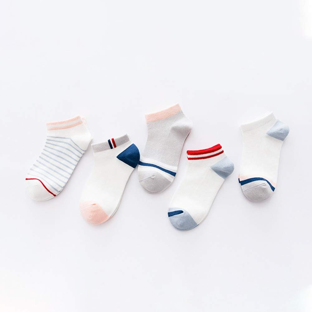 Girls Boys Cotton Solid Stripe Socks 5 Pairs Toddler Baby Mesh Low Cut Ankle Socks