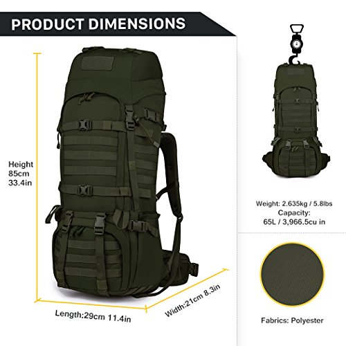 Mardingtop 65+10L//65L Internal Frame Backpack Tactical Military ...