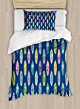 Ambesonne Surfboard Duvet Cover Set Twin Size, Boards with Aloha Hawaii Vibrant Artistic Flowers Graphic Design Hippie Hibiscus, Decorative 2 Piece Bedding Set with 1 Pillow Sham, Multicolor