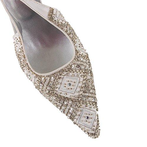 FARFALLA Beaded Luxury Slingbacks (Silver Grey, 5UK/38EU)