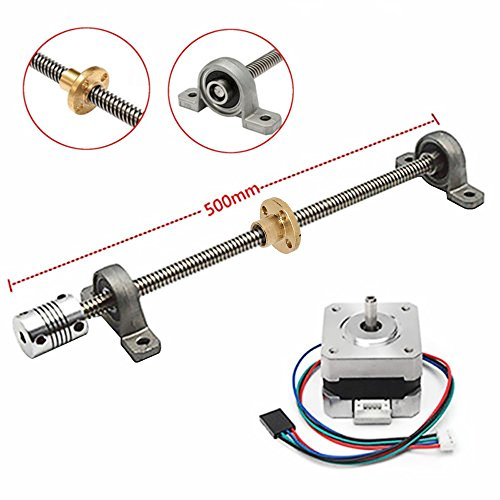 T8 Lead Screw Kit, MYSWEETY 3D Printer Accessories Kit, 500mm Stainless Steel T8 Trapezoidal Lead Screw KFL08 Bearing Stepper Motor Nema 17 for 3D Printer Hobby CNC Router XYZ