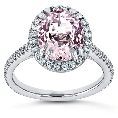 Oval Cut Pink Kunzite and Diamond Halo Ring 3 7/8ct CTW 14k White Gold, 10.5 ()