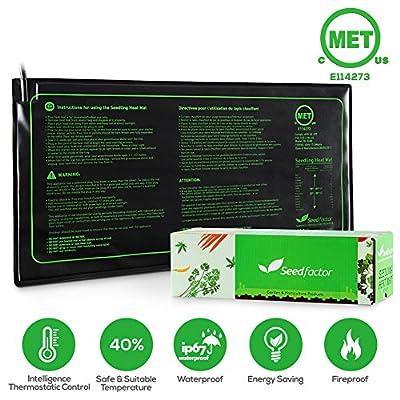MET Certified Seedling Heat Mat, Seedfactor Waterproof Durable Germination Station Heat Mat, Warm Hydroponic Heating Pad for Indoor Home Gardening Seed Starter