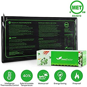"MET certified Seedling Heat Mat, Seedfactor Waterproof Durable Germination Station Heat Mat, Warmhoming Seed Propagating Heating Mat for Seed Starter (10""x20"")"