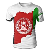 Afghan Flag Map Men's 3D Full Printed T-Shirt Casual Short Sleeves Tees