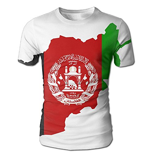 Afghan Flag Map Men's 3D Full Printed T-Shirt Casual Short Sleeves Tees by Tailing