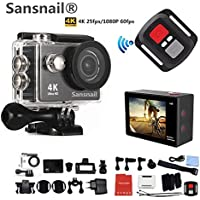 Sansnail Action Camera H9R 4K WiFi Ultra HD Waterproof Sport Camera 2 Inch LCD Screen 12MP 170 Degree Wide Angle 2 Rechargeable 1050mAh Batteries-Black
