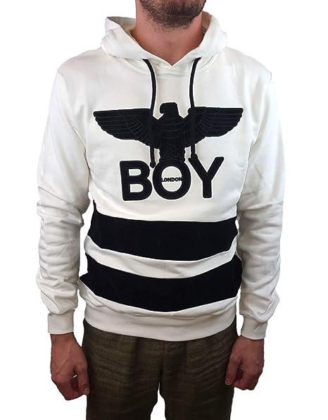 ee30a676866c Boy London Felpa Uomo BLU5132 con Cappuccio - Bianca - Taglia XXL:  Amazon.it: Abbigliamento