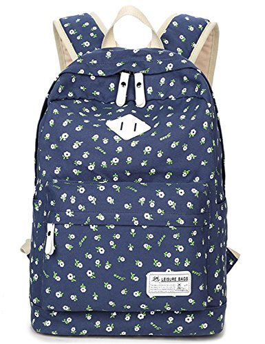 School Bookbags for Girls, Floral Backpack College Bags Light Daypack Haversack Bag by Leaper (Dark Blue)
