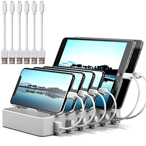 Charging Station for Multiple Devices MSTJRY 6 Port White USB Charging Dock & Organizer Stand Station for Smart Phones Tablets (6 Cables Included)