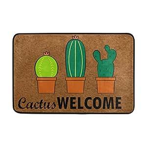 FunnyLife Felpudo de entrada de Cactus Welcome para interior y puerta, antideslizante, forro interior de poliéster, lavable a máquina, tela de poliéster