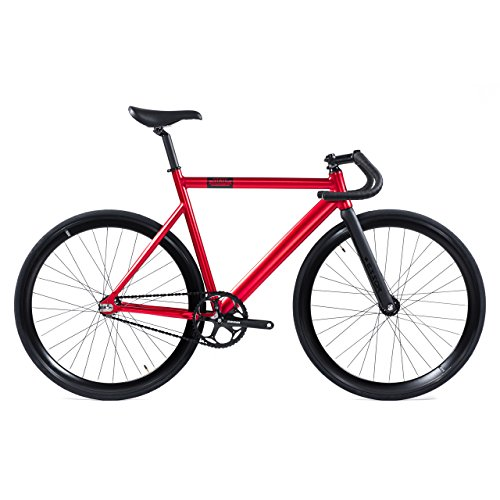 State Bicycle Co. Black Label 6061 Aluminum Fixed Gear Bike, Matte Red, 55 cm