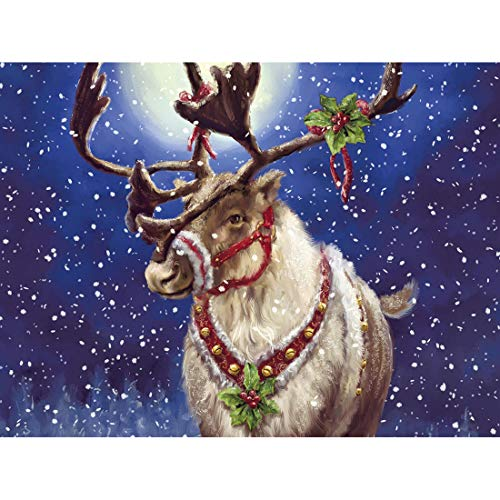 5D Diamond Painting Deer Full Drill by Number Kits for Adults Kids, Yomiie DIY Rhinestone Pasted Paint with Diamonds Set Arts Craft Decoration (12x16inch)