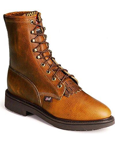 "Justin Men's Original 8"" Lace-Up Work Boot Round Toe Copper"