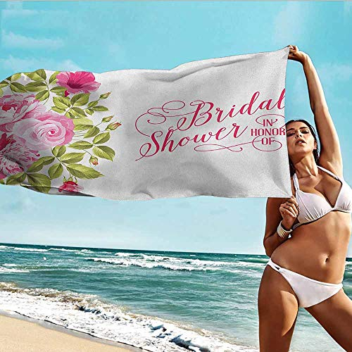 TT.HOME Quick Dry Bath Towel,Bridal Shower Shabby Chic Flowers Roses Buds and Leaves Artwork Print,Soft Fast Drying Travel Gym Washcloths,W40x10L, Hot Pink Pale Pink and Green