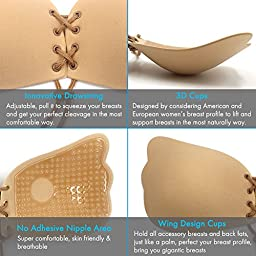 Strapless Bra, Shinymod Backless Self Adhesive Silicone Invisible Push up Bra Sticky Reusable Drawstring Cup Bra & 2PCs Nipple Covers for Women - Lift Squeeze Breasts, Get Sexy Cleavage (Nude, D Cup)