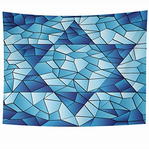 (Ahawoso Tapestry 80 x 60 Inches Blue Hanukkah Six Pointed Star Stained Chanukah Jewish David Passover Glass Window Pattern Design Wall Hanging Home Decor Tapestries for Living Room Bedroom Dorm)