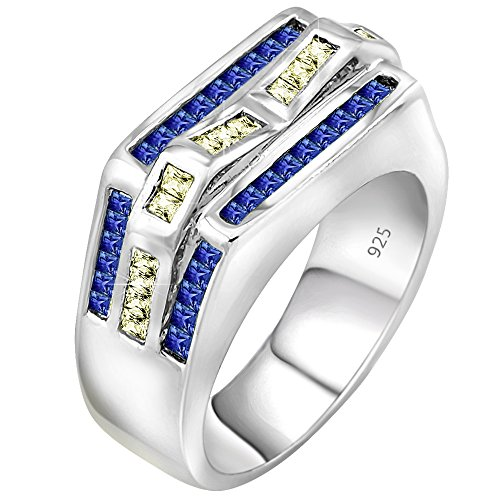 Century Crystal Twelve Light (Men's Sterling Silver .925 Ring with 56 Channel Set Baguette Azure Blue and Light Canary Cubic Zirconia (CZ) Stones, Platinum Plated. Size, 12)