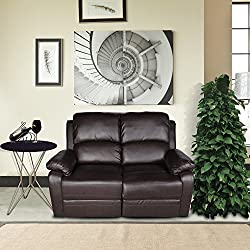 LCH PU Leather 2-Seater Recliner Chair Loveseat, Classic and Traditional Sofa Set Motion Recliner with Overstuffed Arms and Back, Chocolate