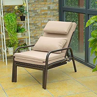 Tangkula Patio Reclining Chaise Lounge Outdoor Beach Pool Yard Porch Wicker Rattan Adjustable Backrest Lounger Chair (Pull Out)