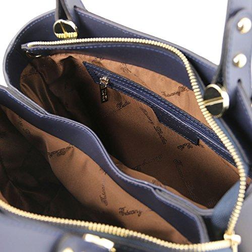 Anna Tuscany TL141684 Cuir Main Foncé Taupe à Foncé Bleu en Leather Sac 6ww5Sqa
