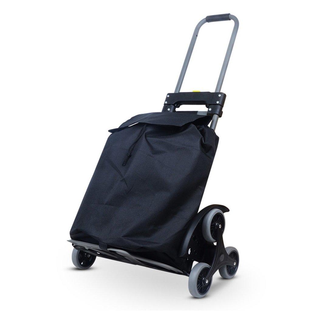 ショッピングカート 折りたたみカートポータブルショッピングカート軽量カートホームPull Cart階段を登るミニフォールド高齢者用トロリー6ラウンド (色 : B) B07FKLS628 B B