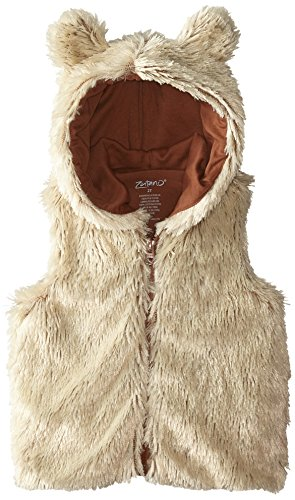 Zutano Little Girls' Toddler Shaggy Vest with Ears, Toffee, (Shaggy Lined Hoody)
