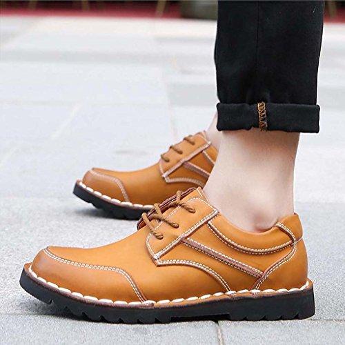 ZXCV Zapatos al aire libre Hombres retro zapatos de cuero grandes hombres bajos para ayudar a los zapatos informales de negocios Marrón claro