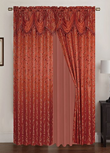 (RT Designers Collection Franklin Jacquard 108 x 84 in. Rod Pocket Panel Pair w/Attached 18 in. Valance, Orange (Set of 2))