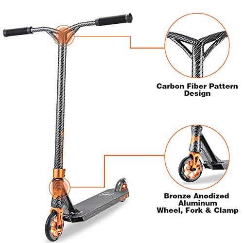 Longway Aluminium Pro Stunt Kick Scooter, Precinct Carbon with BMX Handlebars Reinforced Anodized Aluminium Wheels and Fork
