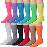 James Fiallo Men's 12-Pairs Solid Colored Bold Lightweight Dress Socks, MC12-12