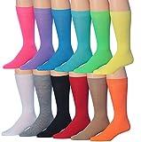 James FialloMen's 12-Pairs Solid Colored Bold Lightweight Dress Socks, MC12-12