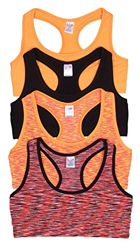 Price comparison product image 'Sweet & Sassy Girls\' Seamless Sports Performance Bra, Black/Orange, Large (34), 4-Pack'