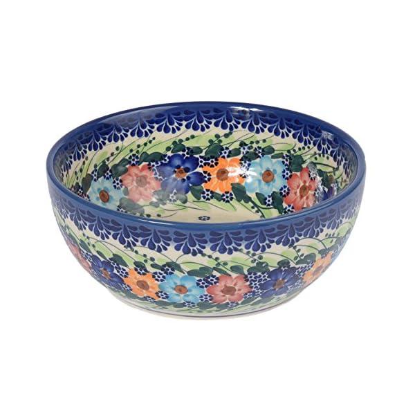 Traditional Polish Pottery, Handcrafted Ceramic Salad Bowl (900ml), Boleslawiec Style Pattern, d.18cm, M.703.Garland