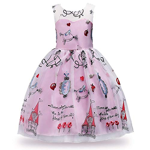 (MOREMOO Children Girls Sleeveless Embroidery Princess Party Pageant Dress(Pink)