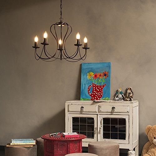 QAZQA Klassisch/Antik /Landhaus/Vintage / Rustikal Klassischer Kronleuchter/Chandelier 5-flammig rostbraun - Como/Innenbeleuchtung / Wohnzimmerlampe/Schlafzimmer / Kü che Metall Rund LED geei