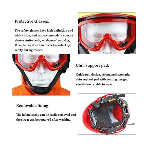Casco de Rescate al Aire Libre, Kit de protección de Emergencia de Casco de Rescate de terremoto con Gafas y Linterna de deslumbramiento Fyxd 4