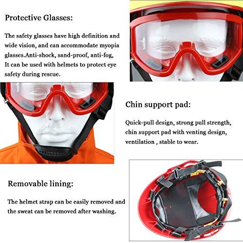Casco de Rescate al Aire Libre, Kit de protección de Emergencia de Casco de Rescate de terremoto con Gafas y Linterna de deslumbramiento Fyxd 7