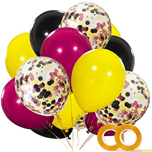Harry Potter Party Supplies Balloons 40 Pack- 12 Inch Black Yellow Wine Red Latex Balloons with Confetti Balloon for Baby Shower Harry Potter Party Decorations -