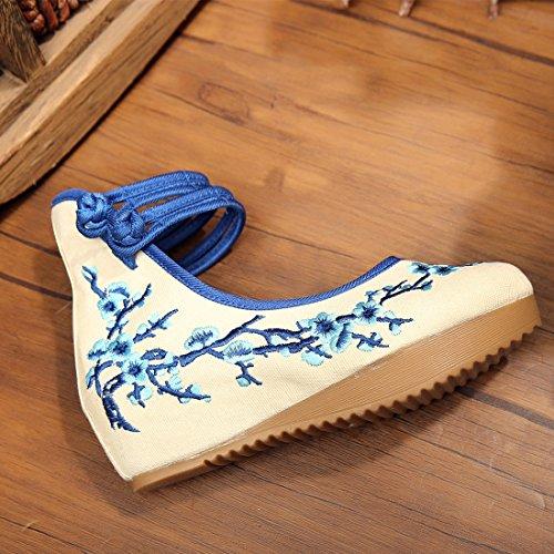 Jtengyao Vrouwen Chinese Enkelbandje Geborduurde Schoenen Casual Wandelen Sportschoenen Blauw