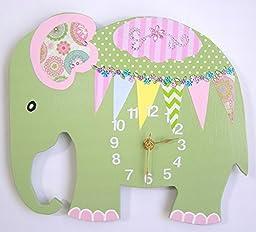 HH Baby Boutique Elephant Wall Clock, Nursery Elephant Wall Clock, Nursery Clock, Kid\'s Room Wall Clock (Green)