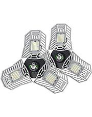 ETL Approved LED Garage Light, Deformable Garage Ceiling Lighting, 60W 6000LM, E26/E27 Base with Triple Adjustable Panels, LED Shop Lights for Garage, Workshop and Factory