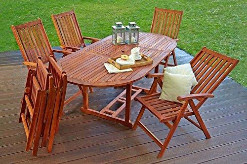 Holz Gartenmöbel Sitzmöbel Sitzgruppe Sitzgarnitur Tisch 6 Stühle Klappstühle Akazie Garten Terrasse Lagento