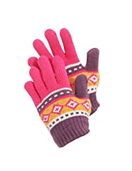 Childrens Girls Aztec Patterned Winter Gloves (One Size) (Plum/Fuschia)